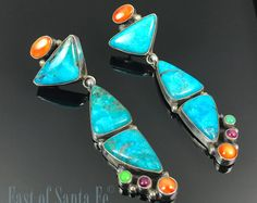 Turquoise Multi-Stones Earrings Navajo Signed - V & C Hale