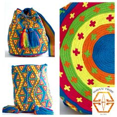 These bags are known as the Mochila bag to the Wayuu people. The average bag takes 20-30 days to hand weave. All bags are Handmade. Wayuu people are use bight different colors and patterns to tell the story of the weaver. These are all one-of-kind bags. Wayuu tribe bags are $75.00-$ 260.00.They are woven with cotton thread. A nice beach bag or farmer bag that is very sturdy. www.wayuutribe.com #mochila #bohochic @Cara McLeay