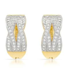 Gold Plated Silver Cubic Zirconia Ladies Earrings. Length 15 mm. Total Item weight 4.3 g. VividGemz. $79.00