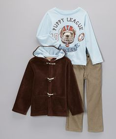 Take a look at this Brown Fleece Toggle Jacket Set - Infant, Toddler & Boys by Kids Headquarters on #zulily today!
