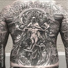 Yallzee's Tattoo of the day by Mistertroshin #inked #tattoo #ink #yallzee #pick #back #idea #realism #religious #god #angels #saints