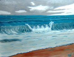 Deep Blue Waves-Minoff-$30-  painting - online