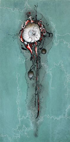 "Gulf of Mexico 2010, 36"" x 18"", thread on stained fabric, 2010 by Nava Lubelski"