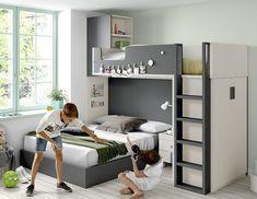 muebles para dormitorios juveniles Childrens Bunk Beds, Kids Bunk Beds, Bunk Bed Designs, Kids Bedroom Designs, Cool Loft Beds, Twin Girl Bedrooms, Bunk Beds Built In, Kids Room Furniture, My New Room