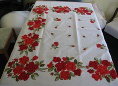 """48""""x51"""" Red Rose Tablecloth like Wilendur Mint, Lightly-Used Condition"""