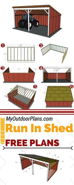 Free plans for building a 16x24 run in shed. This leafing shed is ideal for storing tools, ATVs and even tractors. Full plans at MyOutdoorPlans.com #diy #shed