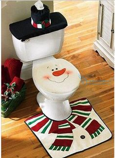 Santa Toilet 3pcs/lot Seat Cover & Rug Christmas Decoration For Home