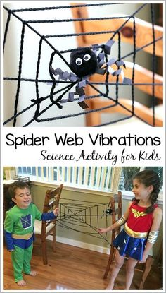 Halloween Science and STEM for Kids: Learn about spider webs and vibrations in this easy science demonstration for preschool, kindergarten…