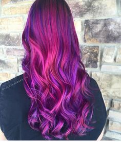 We have so much Lve for this hair color & style by - Modern Vivid Hair Color, Pretty Hair Color, Hair Color Purple, Pink Hair, Creative Hair Color, Dyed Hair Pastel, Funky Hairstyles, Formal Hairstyles, Coloured Hair