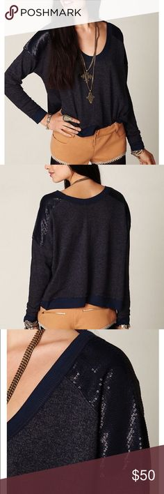 NWT Free People Sequin Shoulder Thermal Pullover Brand new with tags. Adorable pullover sweater with sequins shoulders. Make a reasonable offer if interested. :) Free People Tops Tees - Long Sleeve