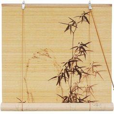 Black Bamboo Design Blinds, Beige