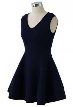 5f2806eaf35c V-neck Skater Dress in Navy - Retro