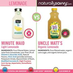 """Just because a product claims to be """"light"""" doesn't mean it's sugar free. This 'light' lemonade contains artificial sweeteners shown to contribute to weight gain, and contains high-fructose corn syrup - a culprit in the rising obesity rates. Choose a brand made from 100% juice like our partner's Uncle Matt's Organic. Learn more and take our #GetHealthy challenge: naturallysavvy.com/challenges View full size image here: naturallysavvy.com/alternagraphics/-alternagraphic-lemonade…"""
