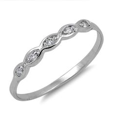 Sterling Silver ring size 3 CZ Kids Round cut Infinity Baby Midi Knuckle New b81 #Unbranded #Band