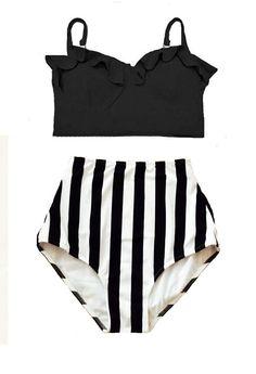 Black Midkini Top and White Black Stripe High Waisted Waist Highwaist  Shorts Bottom Swimsuit Swimwear b5a29db2e