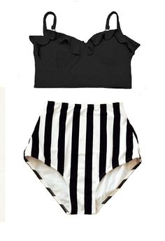 Black Midkini Top and White/Black Stripe High Waisted Waist Highwaist Shorts Bottom Swimsuit Swimwear Bikini set Bathing suit wear S M L XL by venderstore on Etsy