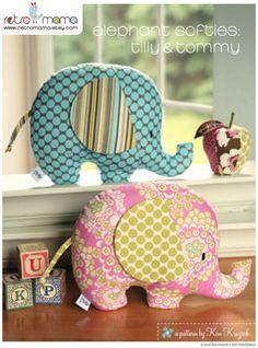 Retro Mama Elephant Softies - Downloadable Pattern