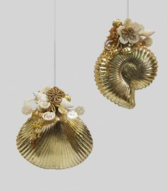 """Katherine's Collection Sirens Of The Sea Set Twelve Assort Approx 6"""" Seashell Kugel Ornaments Free Ship"""