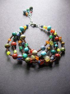MultiStone Beaded Bracelet. Chunky Beaded Bracelet. Southwest Bracelet  - Bennington Bracelet on Etsy, $58.00