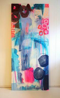 Stående maleri med lyse farver