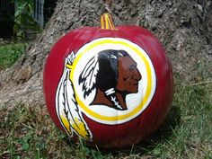 Hey, I found this really awesome Etsy listing at http://www.etsy.com/listing/161770947/washington-redskins-pumpkin