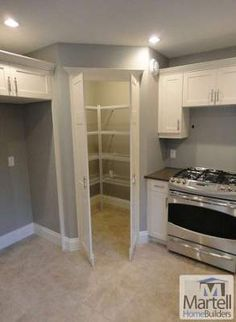 New kitchen corner pantry layout double ovens ideas Home Kitchens, Corner Pantry, Kitchen Corner, Kitchen Remodel, Kitchen Design, Corner Kitchen Cabinet, Kitchen Pantry Cabinets, Kitchen Layout, Pantry Design