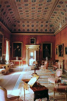 Robert Adam commissioned Giovanni Battista Cipriani to paint the 249 ceiling medallions at Syon House in London, circa 1760.