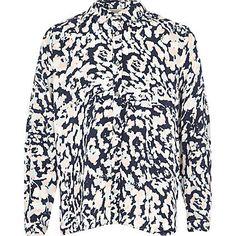 Girls blue animal print button down shirt £16.00