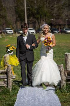 gorgeous spring wedding at Cedars of Lebanon State Park Nashville. Yellow Sunflowers  #bride #wedding #dress #nashville #photographer #yellow Sunflowers #Cedars of Lebanon