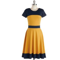 Nothing Like the Wheel Thing Dress in Gold ($49) ❤ liked on Polyvore featuring dresses, color block, a-line, short sleeves, modcloth, yellow, colorblock, long, casual and knit