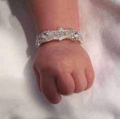 baby rhinestone baptism party flower girl bracelet on Etsy, $30.00