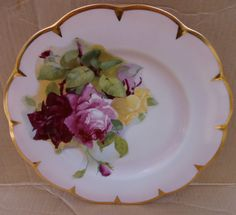 Antique Imperial Bavaria Pink Rose Floral Signed Ullrich Dinner Plate Gold Trim #Imperial Plates And Bowls, China Patterns, Bavaria, Pie Dish, Dinner Plates, Red And Pink, Rose, Decorative Plates, Antiques