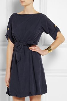 Burberry Brit Knot-Front Satin Dress http://rstyle.me/n/d97k4r9te