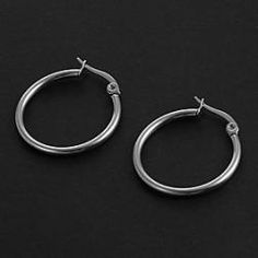 Fashion Simple 2.0CM Round Shape Silver Stainless Steel Hoop Earrings (1 Pair) - buy for USD0.99