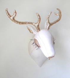 Deer Head: White with Gold Antlers