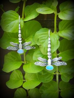 Artisan-crafted Sterling Dragonfly Earrings with Choice of Cabochon by Teresa de la Guardia