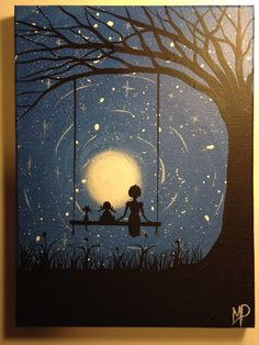 I wish I may  9 x 12 acrylic on canvas ready  by Michael Prosper Mother and Daughter on a swing