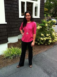 Easy outfit for work - $10 top on sale from Gap, J Crew dress pants, leopard heels, Banana Republic necklace