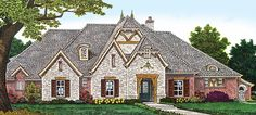 This stately French Country home plan boasts a luxurious master suite fit for a king.Built-in bookshelves flank the sitting area windows and 10 French Country Bedrooms, French Country House, French Country Decorating, Country Bathrooms, European House, Country House Plans, Dream House Plans, House Floor Plans, Dream Houses