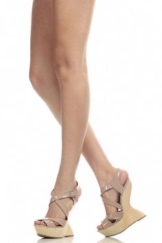 cd0194f81a0 Nude Faux Patent Leather Wooden Gravity Wedges   Cicihot Wedges Shoes Store Wedge  Shoes