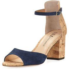Neiman Marcus Brackston Suede City Sandal ($70) ❤ liked on Polyvore featuring shoes, sandals, blue, open toe sandals, open toe shoes, blue block heel sandals, metallic block heel sandals and blue suede shoes