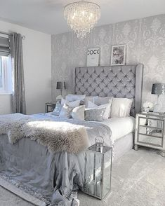 Home Decor Ideas & Design, DIY Projects, Gardening and Landscaping! All the decorating ideas and tips you need to make your home the perfect place! ideas for the home bedroom 30 Amazingly Beautiful Silver Bedroom Ideas That Are The Current Trend Bedroom Photos, Room Ideas Bedroom, Cozy Bedroom, Home Decor Bedroom, Modern Bedroom, Girls Bedroom, Contemporary Bedroom, Bedroom Table, Silver Bedroom Decor