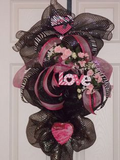Valentine Deco Mesh Wreath, Valentine Deco Mesh Swag, Holiday, with ...