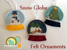 Snow Globe Felt Ornaments