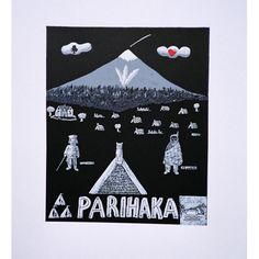 The Parihaka print represents a significant period in New Zealand's history when a Taranaki tribe under the leadership of Te Whiti staged peaceful protests against the colonial rule