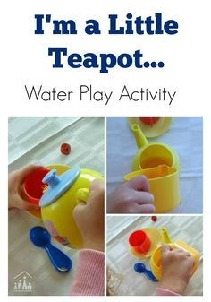 Little Tea Pot Tots Water Transfer Play – Crafty Kids at Home I'm a Little Tea Pot nursery rhyme activity for toddlers and preschoolers to enjoy. Host your own pretend tea party in this fun water transfer activity. Rhyming Preschool, Rhyming Activities, Preschool Themes, Infant Activities, Toddler Preschool, Indoor Activities, Family Activities, Poetry Activities, Preschool Lessons