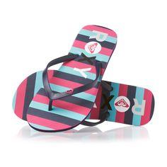 Roxy Flip Flops - Roxy Logo Flip Flops - Navy