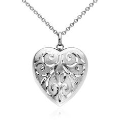 Hand-Engraved Heart Locket in Sterling Silver ❤ liked on Polyvore featuring jewelry, necklaces, accessories, colares, bijoux, engraved locket, engraved jewelry, heart locket, filigree jewelry and heart shaped locket