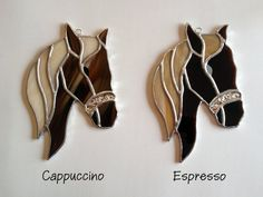 This handmade stained glass horse suncatcher is great for any country-themed home...and is a great gift for any horse lover!! This suncatcher is currently available in two variations:  ~ Cappuccino (Made entirely with opaque brown and light cream two-tone glass; the bridle is made of textured silver glass)  ~ Espresso (Made with transparent rich brown glass for the face, and opaque medium cream glass for the mane; the bridle is made of textured silver glass)  NOTE ABOUT CUSTOMIZATION: I can…