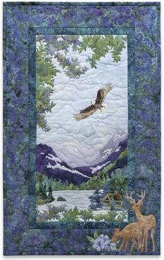 Naturally McKenna Ryan Pine Needles His Highness Eagle Deer Quilt Pattern for sale online Fabric Panel Quilts, Fabric Art, Batik Quilts, Fabric Panels, Landscape Art Quilts, Landscapes, Watercolor Landscape, Landscape Paintings, Wildlife Quilts
